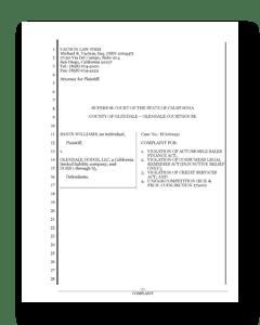 Cover of Glendale Dodge Lawsuit's Complaint